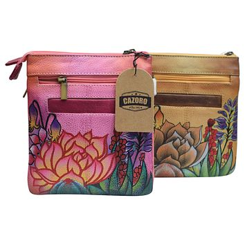 Cazoro Handpainted Wild Flowers Ladies Shoulder Crossbody Bag Leather Purse