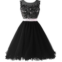 Black Beaded Cap Sleeves Lace Homecoming Cocktail Dresses