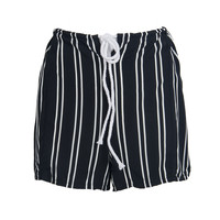 Black Stripe Pleated Drawstring Cut Out Short