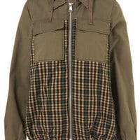 Khaki Mixed Check Hooded Jacket - New In This Week  - New In