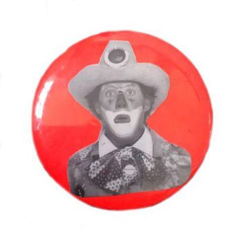 Vintage Creepy Clown Rodeo Button Gold Fever I Like Girls Pin Pinback R558