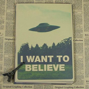 Retro Cartoon Movie Poster I WANT TO BELIEVE Home Decoration Painting Core Wallpaper Mural Drawing Stickers Hang Picture Photo