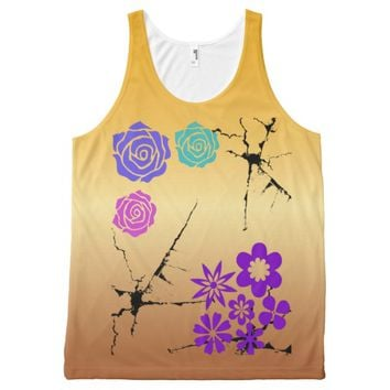 colorful flowers on golden backround All-Over print tank top