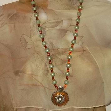 Repurposed Vintage Pale Green & Amber Beaded Artisan Crafted Pendant, Bracelet & Earrings Statement Set