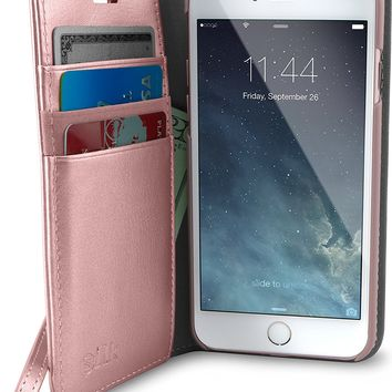 """Silk iPhone 7/8 Wallet Case - FOLIO WALLET Synthetic Leather Portfolio Flip Card Cover with Kickstand - """"Keeper of the Things"""" - Rose Gold"""