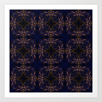 Blue Retro Fractal Pattern Art Print by Hippy Gift Shop