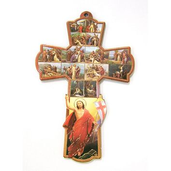 WALL CROSS, PATRON SAINT CROSS WALL WAY OF THE CROSS 8.25""