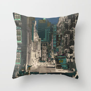 Chinatown of NYC Throw Pillow by Marie-Pier Cadorette