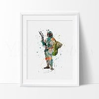 Boba Fett Watercolor Art Print