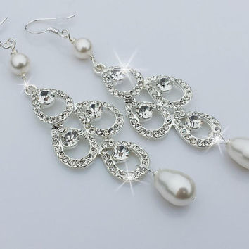 Bridal Rhinestone Earrings, White Pearl Earrings, Chandelier Earrings, Swarovski Pearls, Wedding Earrings, Crystal Earrings, BELLA