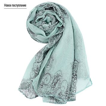 On sale Print Voil Chiffon Scarf Women's Foulard Soie Shawls and Scarves Long Shawl Printed Cape Chiffon Tippet Muffler clothing
