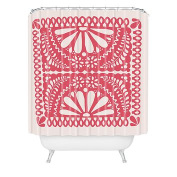 Natalie Baca Fiesta De Flores In Red Shower Curtain