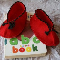 Bright Red Felt Baby Booties Handmade from Felt with Black Cording on the Uppers | rocksntwigs - Children's on ArtFire