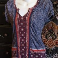 Lucky Brand Women's Red Multi Floral Print Split Neck Peasant Top XS