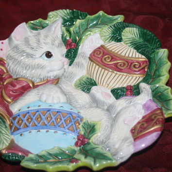 Fitz and Floyd Kitten Christmas Plate,Vintage Christmas Decor