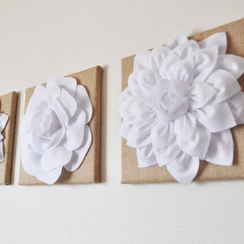 "Three White Dahlias and Rose on Burlap 12 x12"" Canvas Wall Art- Home Decor"