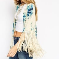 ASOS Cropped Kimono with Fringing in Vintage Floral Print