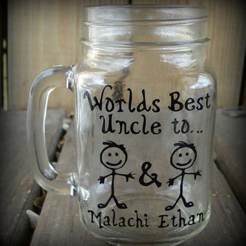 Worlds Best Uncle Customized Mason Jar Cup with Stick Figure Kids.