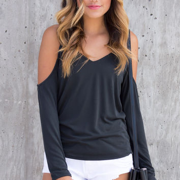 Perla Cold Shoulder V-Neck Top - Black