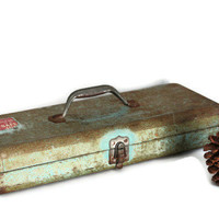 Vintage Rustic Turquoise Green Industrial Tool Box