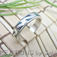 SterlingSterling Silver Turquoise Inlay Lightning Design Ring Band Vintage Size 5 Silver Turquoise Inlay Lightning by CREATIONSbySabine
