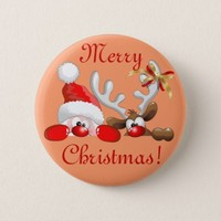BluedarkArt • SOLD! #FUnny #Santa & #Reindeer #Cartoon #Buttons...