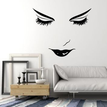 Vinyl Wall Decal Beautiful Woman Face Girl Lips Eyelashes Makeup Stickers Unique Gift (2085ig)