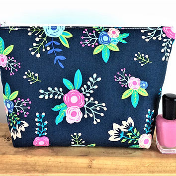 Floral Makeup Bag - Large Cosmetic Bag - Gift for Her - Bridesmaid Gift - Large Makeup Bag