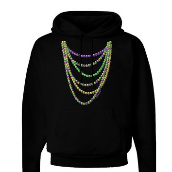 Mardi Gras Beads Necklaces Dark Hoodie Sweatshirt