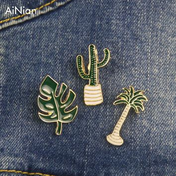 AiNian Simple Cartoon Green Plant Coconut Tree Mexican Cactus Leaf Metal Brooch Pins Diy Button Pin Denim Jacket Pin Badge Gift
