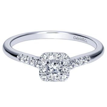 14k 1/3cttw Petite Halo Diamond Engagement Ring