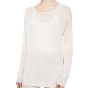 Frayed-Trim Thin Cashmere Top, Size: