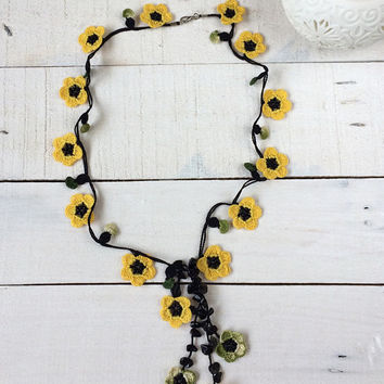 Wild Flower Lariat, Yellow Oya Necklace, Boho Beaded Necklace, Crochet Necklace, Crochet Jewelry, Women Gift, ReddApple, Gift Ideas for Her
