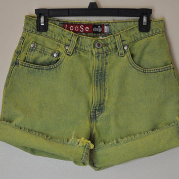 Vintage Levi's 664 Denim Cutoff SHORTS - Hand Dyed Chartreuse Lime Green Urban Style Denim High Rise Vintage Shorts - Womens Size 9/10 (30)