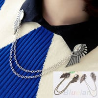 Bluelans Retro Collar Clip Punk chain Blouse Shirt angel Wing Tips pin brooch boho tassel