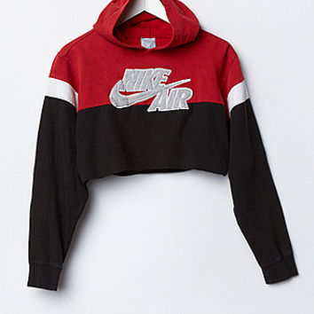 Retro Gold Vintage Nike Colorblock Cropped Hoodie Fleece Sweatshirt At PacSun