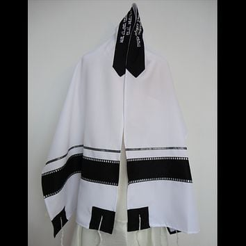 Black and Silver Tallit prayer shawl, Bar Mitzvah Tallit