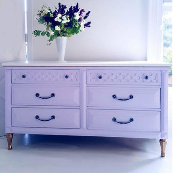 Sold*****Vintage hand painted dresser, mid centrury modern, Marakesh drawers, functional art