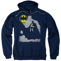 BATMAN/BAT KNOCKOUT-ADULT PULL-OVER HOODIE-NAVY