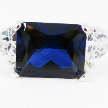 Blue Sapphire and CZ Trillion Side Set Ring Sterling Silver, September Birthstone Ring, Emerald Cut Blue Sapphire Ring, Emerald Cut Sapphire