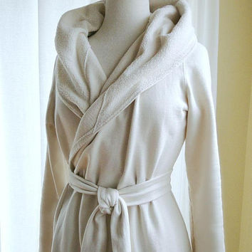 Organic cotton bathrobe with hood - extra long, natural knit jersey knit