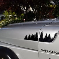 Jeep Wrangler TJ Extended Hood Forest Decal Set