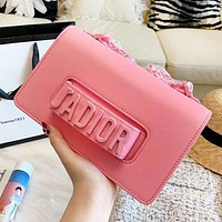DIOR Fashion New Leather Shopping Leisure Shoulder Bag Women Pink