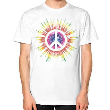 Tie Dye Peace Sign Unisex T-Shirt (on man)