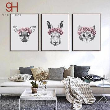 Hand Draw Animals Art Print Painting Poster, Wall Pictures for Home Decoration, Rabbit and Deer and Cat Wall Decor FA403