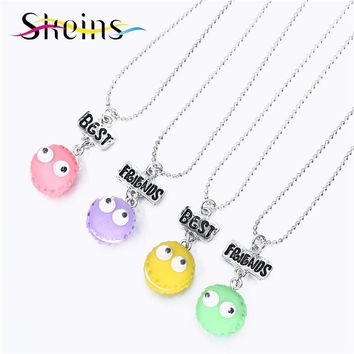 BFF Food Jewelry 4pcs/Set Best Friends Charm Macaroon Move Eyes Ice Cream Pendants Necklace Love Sisters Kids Necklace Set