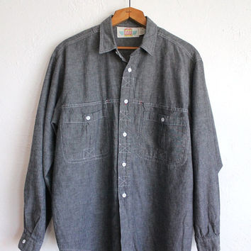 Vintage 80s Men's Gray Oxford Cotton Long Sleeve Button Up Shirt