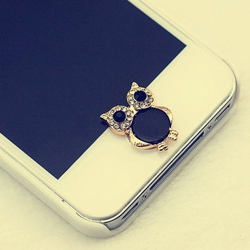 Cute Owl Home Button Sticker for iPhone 4 4s 5 5s = 1651097988