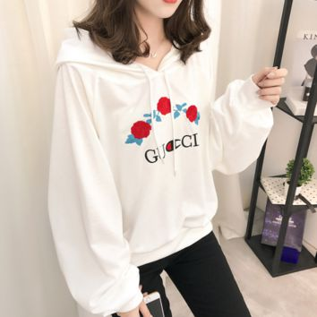 Floral GUCCI Classic Casual Long Sleeve Pullover Top Sweatshirt