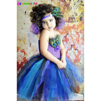 Ksummeree Peacock Feather Tutu Dress with Headband Girls Pageant Tulle Dress Children Halloween Birthday Party Costume TS131